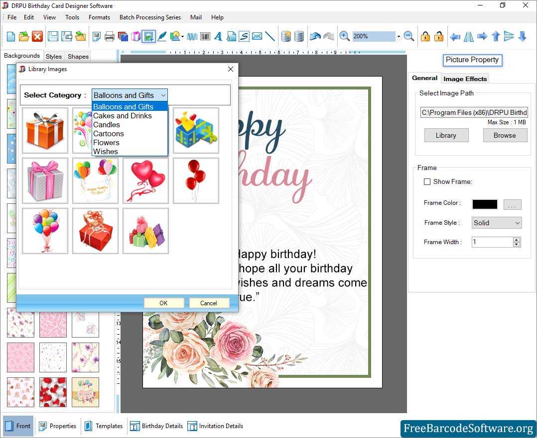 Easily Creates Various Birthday Cards For Your Friends And Family Freebarcodesoftware
