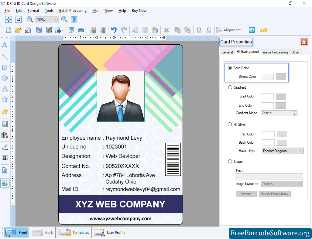 Id Card Maker Software Generates Students Faculty Etc Identity Cards Freebarcodesoftware