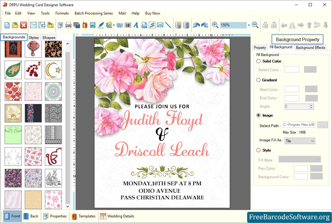 wedding card maker software screenshots  freebarcodesoftware