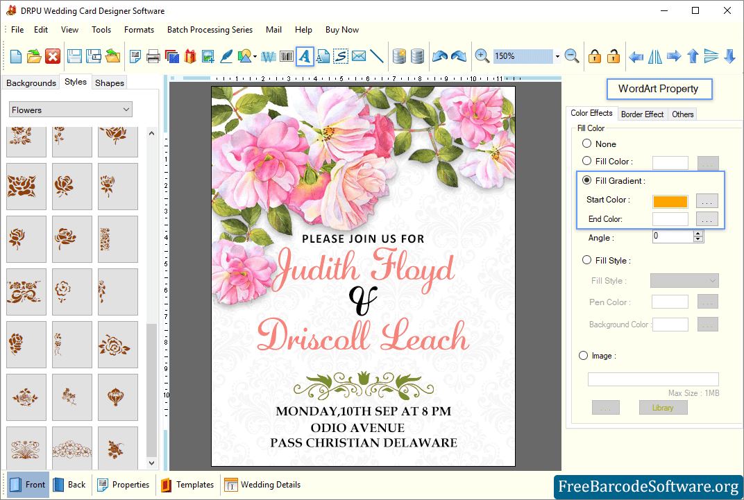 Wedding Card Software Creates Wedding Card In Different Shapes And Sizes Freebarcodesoftware
